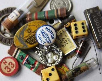 Found Object Lot 20 pieces- Vintage Destash Odds & Ends- Mixed Media Supply Lot- Dice- Gears- Militaria- License Tag- Harmonica