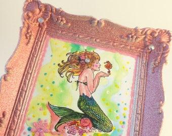 Mermaid art, under the sea, mixed media art, upcycled art, Original art, OOAK original art, Mini Painting,  repurposed  Vintage Frame