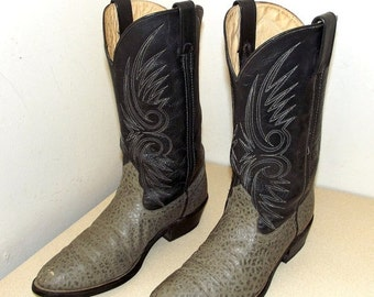 ON SALE Vintage Double H brand cowboy boots size 9.5 D or cowgirl size 11 -- two tone grey