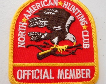 North American Hunting Club Official Member Patch Red Yellow Eagle Hunter Gun