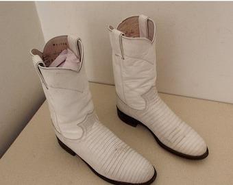 Vintage Justin brand White lizard Roper style cowboy boots size 7 B