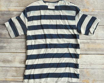 Vintage Liz Claiborne Blouse Womens Shirt Dark Blue Stripes White Size 6 Distressed