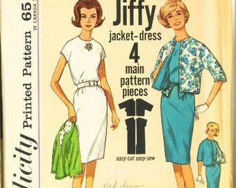 Vintage 1950's Simplicity pattern 4897 One (1) pc Jiffy Dress and Reversible Jacket