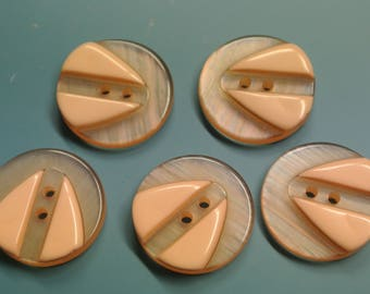 Lot of 5 vintage 1970s unused light salmon pink plastic buttons for your sewing decoration prodjects