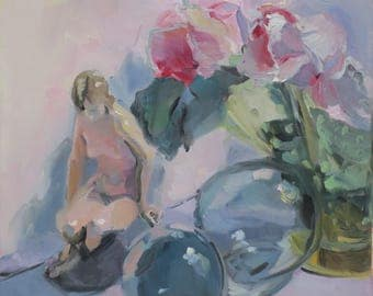 Figurine, Roses and Green Hobnail Vase an impressionist painting - impressionism - Japanese floats - girl - figurine - roses  - pink roses