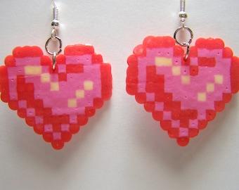 hearts perler earrings