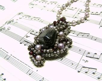 Garnet Pendant Woven Pendant Beaded Necklace