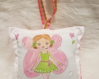 Tooth Fairy Pillow - Girl Tooth Fairy - Light Brown Hair - Name Added Free