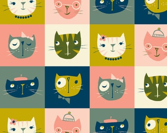 Mod Cat Fabric - Kitty Checkers By Shindigdesignstudio - Retro Cats Home Decor Cotton Fabric By The Yard With Spoonflower