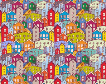 Colorful Cityscape Fabric - Cityscape By Ekaterinap - Modern Rainbow Abstract Cityscape Cotton Fabric By The Yard With Spoonflower