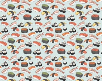 Kawaii Sushi Fabric - Sushi Roll Funny Food By Khaus - Cute Novelty Kitchen Cotton Fabric By The Yard With Spoonflower