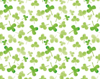 St Patricks Day Clover Fabric - Clover By Ruth_Robson - St Patricks Day Watercolor Clover Cotton Fabric By The Yard With Spoonflower