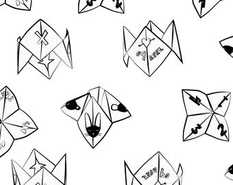 Fortune Teller Fabric - Cootie Catchers (Black White) By Eleventy-Five - Retro 1990s 1980s Kids Cotton Fabric By The Yard With Spoonflower