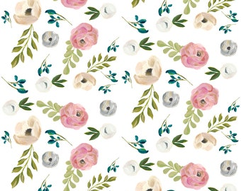 """Shabby Chic Fabric - August Floral In White - 4"""" By Shopcabin - Shabby Chic Cotton Fabric By The Yard With Spoonflower"""