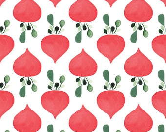 Red Radish Fabric - Rows Of Radishes In White By Thislittlestreet - Radish Veggies Vegetables Cotton Fabric By The Yard With Spoonflower