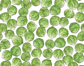 Brussel Sprouts Fabric - Brussel Sprouts By Hazel Fisher Creations - Kitchen Green Vegetable Cotton Fabric By The Yard With Spoonflower