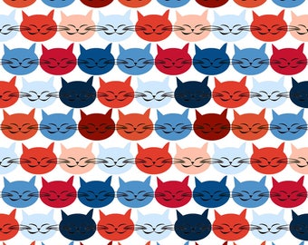 Cool Cats Fabric - Chat C Est Toi Le Chat Bleu R L By Nadja Petremand - Mod Cats Home Decor Cotton Fabric By The Yard With Spoonflower
