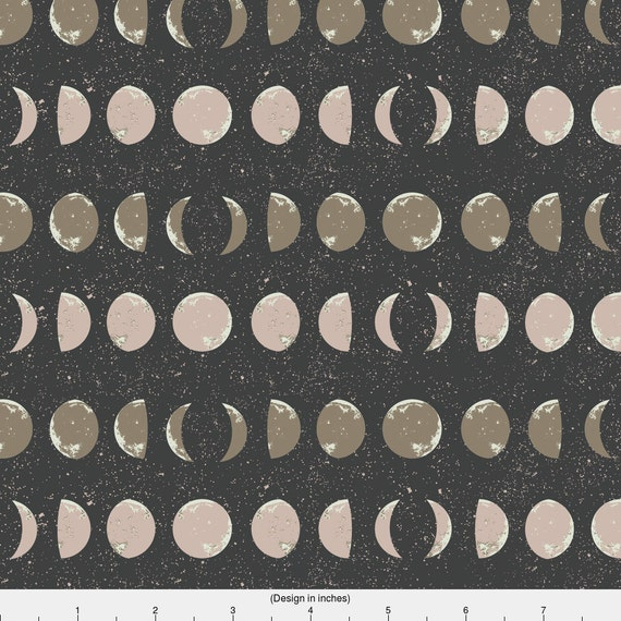 Moon phases fabric moon phase stripes in charcoal by for Moon fleece fabric