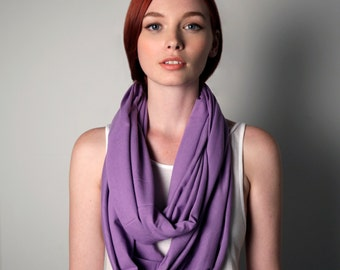 Purple Infinity Scarf, Jersey Cotton, Womens, Mens, Large, Chunky