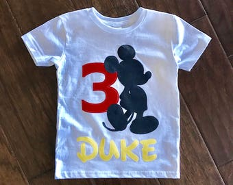 Mickey Mouse Birthday Name/Number Shirt - Custom Name/Age 1, 2, 3, 4, 5, 6, 7, 8, , Disney red yellow birthday mickey party