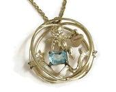 Aquamarine Glass Pendant Necklace Vintage March Birthday with Cupid or Cherub