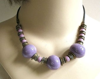 Ethnic Necklace Purple Ceramic Glass and Metal Beads Vintage