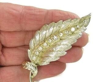 Clear Rhinestones Leaf Brooch Vintage Mid Century