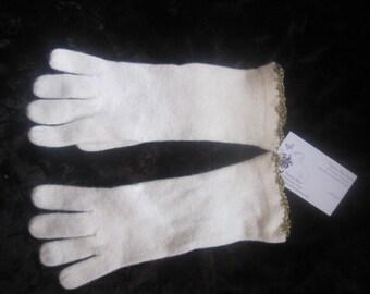 Winter White Gold Lamé Scallop Crochet Edged Lambswool Angora Gloves washable elegant, winter white