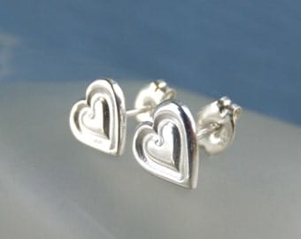 Sterling Silver Stud Earrings - STAMPED HEARTS - Handstamped Love Heart Studs - Textured Metalwork Jewelry - Shiny or Oxidised