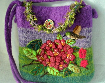 Felted Purse, Felted Handbag, Rododendren Flower, Flower art, Needle felt Flower,Hummingbird
