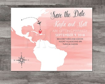 Turks & Caicos Save the Date – Destination Wedding Save the Dates – Wedding Save the Dates - Map Save the Date