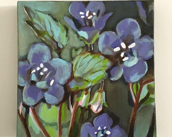 Purple flowers -  Art Nature and Landscape Painting- Original acrylic painting - wall art- wall decor- home decor  - Landscape & Scenic