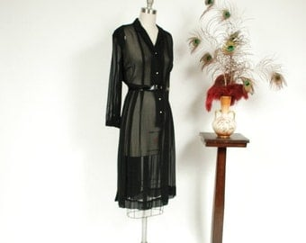 2 DAY SALE - Vintage 1940s Dress - Bewitching Black Rayon Sheer Chiffon 40s Shirtwaist Day Dress with Pintucked Bodice