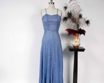 2 DAY SALE - Vintage 1930s Dress - Spring 2017 Lookbook - The Radienne Dress - Deep Periwinkle Sheer Lace 30s Gown with Slim Straps and Line