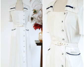 Vintage 1950s Dress - White Cotton 50s Nautical Day Dress with Navy Blue Trim and Asymmetric Buttons