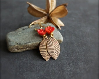 ON SALE Etched Gold Brass Leaf Dangle Earrings Carved Red Coral Flower Long Floral Nature Garden Oxidized Metalwork Boho Jewellery