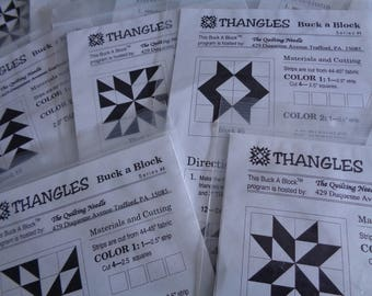 Thangles 12 Quilt Blocks Patterns and Fabric Kits