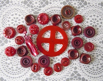 26 Vintage Red Plastic Sewing Buttons Instant Collection Bulk Lot Round Buttons Red Buttons