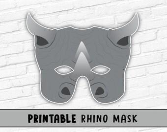 Rhinoceros Rhino Mask, Printable Party Mask, Halloween Costume