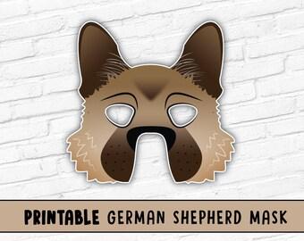 German Shepherd Mask | Malinois Dog Mask | Printable Halloween Mask