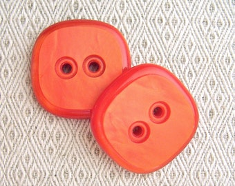 Large Orange Buttons, 35mm 1-3/8 inch - Zesty Orange Retro Mod Sewing Buttons - 2 VTG NOS Rounded Square Modern Orange Plastic Buttons PL124