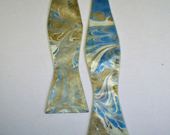 Self Tie Bow Tie Blue, Bronze and Cream Made in Asheville, NC MM-#16-X
