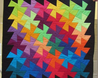 """Twister Table Topper - 21"""" squares - rainbow solids with black background"""