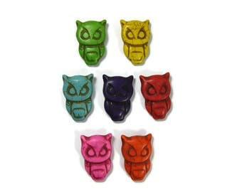 30mm  Howlite Owl Beads Set of 2