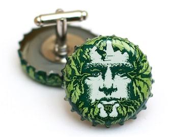 Green Man NC Beer Bottle Cap Cufflinks Cuff Links