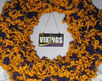 Minnesota Vikings Purple and Gold NFL Sports Wreath Door Hanger