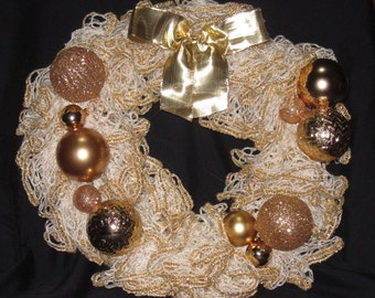 Sparkling Gold Christmas Holiday Wreath Door Hanger