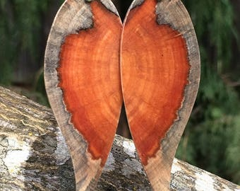 Wood Wedding Angelwing Earrings Made Of Reclaimed Urban Monkey Puzzle Wood
