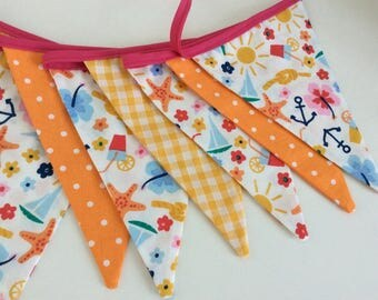 Summer Days Bunting - beach fabric, orange and yellows 12 fun flags perfect for summer parties, picnics and days in the sun