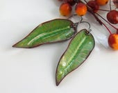 Save 30% Long Green Enamel Dangle Earrings, Vitreous Enameled Greenery Art Jewelry, Copper Enamel Leaves, Nature Art, Ready to Mail, OOAK De